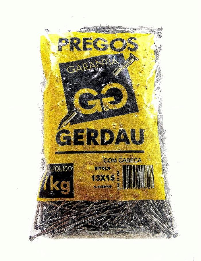 Prego Polido com Cabeça 13x15 (1kg) Gerdau